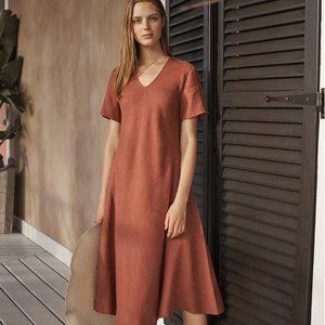 Poetry Bias Cut Red Terra Linen Dress Shift VZ69